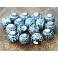 6mm Round Ceramic Beads, Grey Speckled, Pack of 20