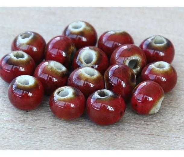 6mm Round Ceramic Beads, Tomato Red
