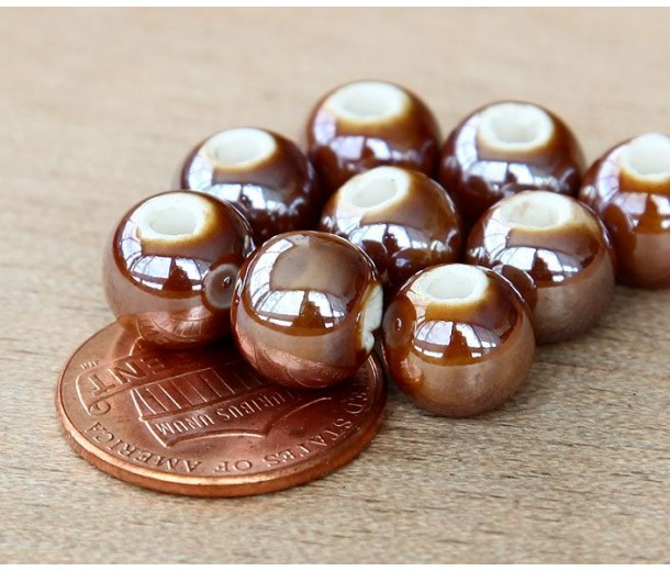 8mm Round Ceramic Beads, Coffee Brown