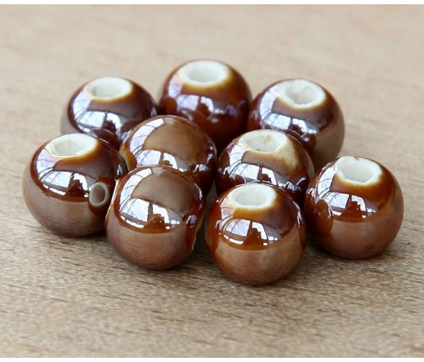8mm Round Ceramic Beads, Coffee Brown, Pack of 20