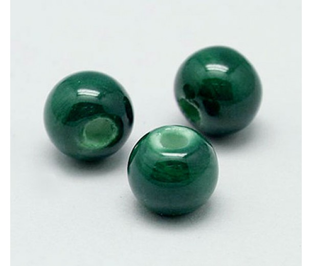 10mm Round Ceramic Beads, Hunter Green