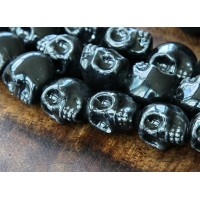 13x11mm Skull Ceramic Beads, Black