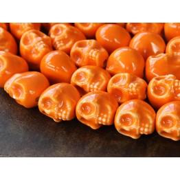 13x11mm Skull Ceramic Beads, Orange