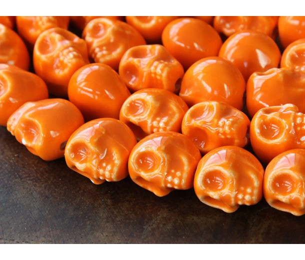 13x11mm Skull Ceramic Beads, Orange