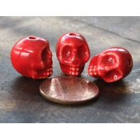 13x11mm Skull Ceramic Beads, Red..