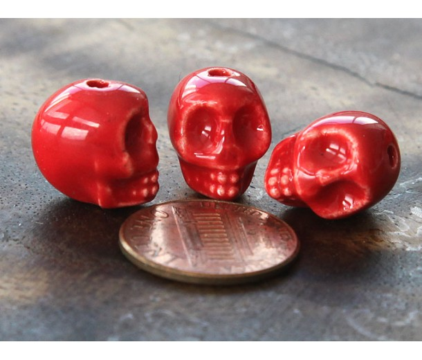 13x11mm Skull Ceramic Beads, Red