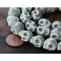 13x11mm Skull Ceramic Beads, Grey