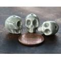 13x11mm Skull Ceramic Beads, Grey