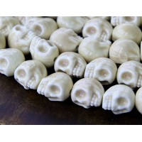 13x11mm Skull Ceramic Beads, Bone