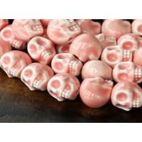 13x11mm Skull Ceramic Beads, Coral Pink