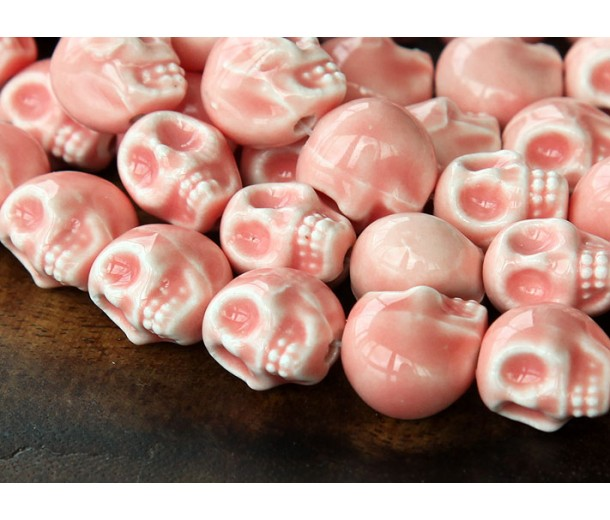 13x11mm Skull Ceramic Beads, Coral Pink