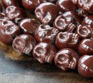 13x11mm Skull Ceramic Beads, Chocolate