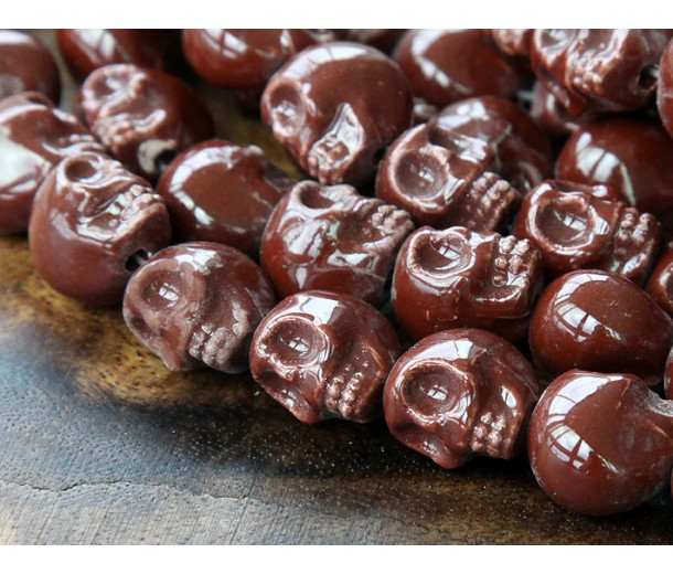 13x11mm Skull Ceramic Beads, Chocolate