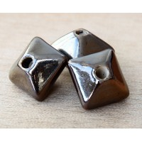 15mm Pillow Ceramic Bead, Bronze