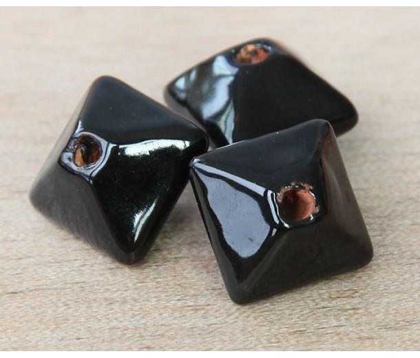 15mm Pillow Ceramic Bead, Black
