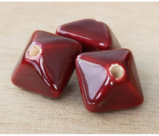 15mm Pillow Ceramic Bead, Dark Red, 1 Piece