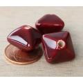 15mm Pillow Ceramic Bead, Dark Red, 1 Piece