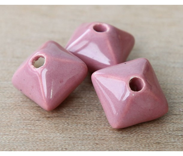 15mm Pillow Ceramic Bead, Rose Pink, 1 Piece