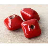 15mm Pillow Ceramic Bead, Bright Red