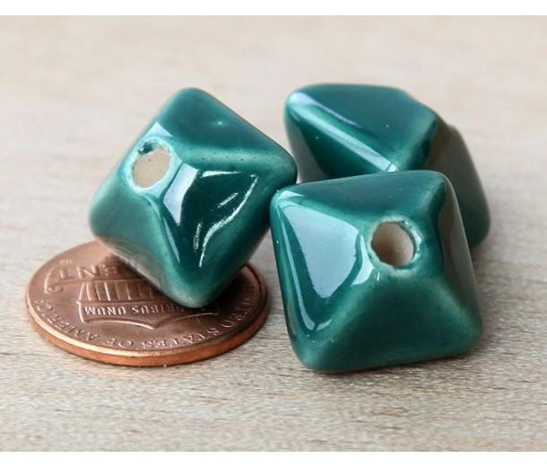 15mm Pillow Ceramic Bead, Dark Teal