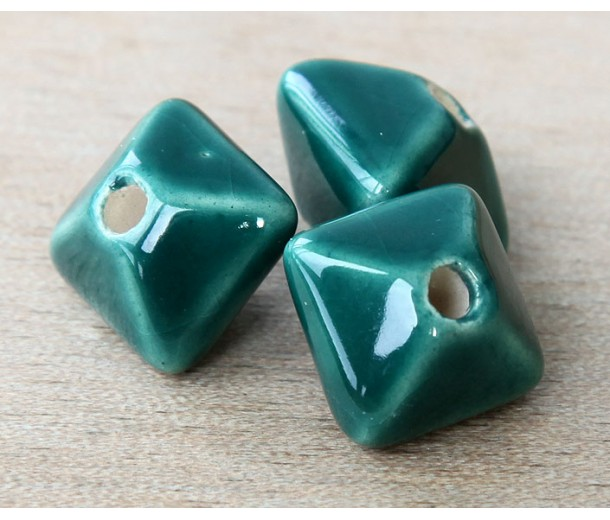 15mm Pillow Ceramic Bead, Dark Teal