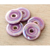 13mm Round Disk Iridescent Ceramic Beads, Purple