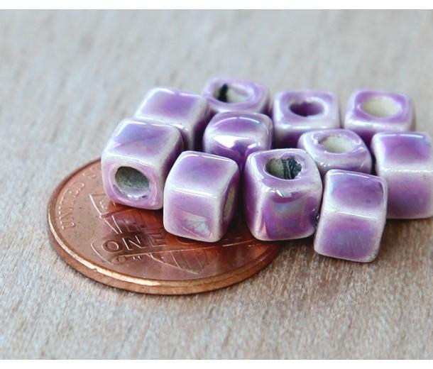 5mm Cube Iridescent Ceramic Beads, Purple