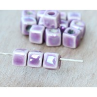 5mm Cube Iridescent Ceramic Beads, Purple, Pack of 10