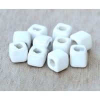5mm Cube Iridescent Ceramic Beads, White