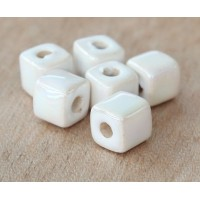 7mm Cube Iridescent Ceramic Beads, White