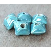 12mm Pillow Iridescent Ceramic Beads, Teal