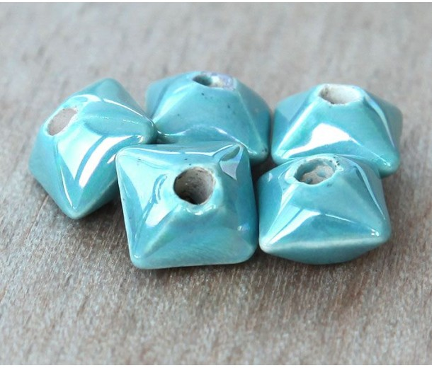 12mm Pillow Iridescent Ceramic Beads, Teal