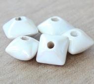12mm Pillow Iridescent Ceramic Beads, White