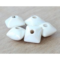12mm Pillow Iridescent Ceramic Beads, Wh..