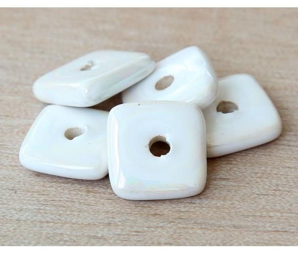 12mm Square Disk Iridescent Ceramic Beads, White
