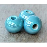 12mm Round Iridescent Ceramic Bead, Teal
