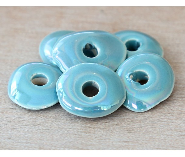 18x14mm Cornflake Disk Iridescent Ceramic Beads, Teal