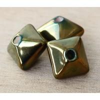 15mm Pillow Iridescent Ceramic Bead, Beetle