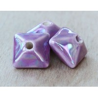 15mm Pillow Iridescent Ceramic Bead, Purple, 1 Piece