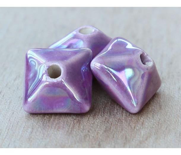 15mm Pillow Iridescent Ceramic Bead, Purple, 1 Piece