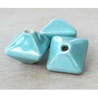 15mm Pillow Iridescent Ceramic Bead, Teal, 1 Piece
