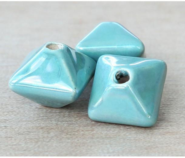 15mm Pillow Iridescent Ceramic Bead, Teal, 1 Piece