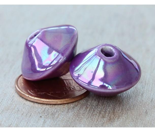 18x12mm Bicone Iridescent Ceramic Bead, Purple