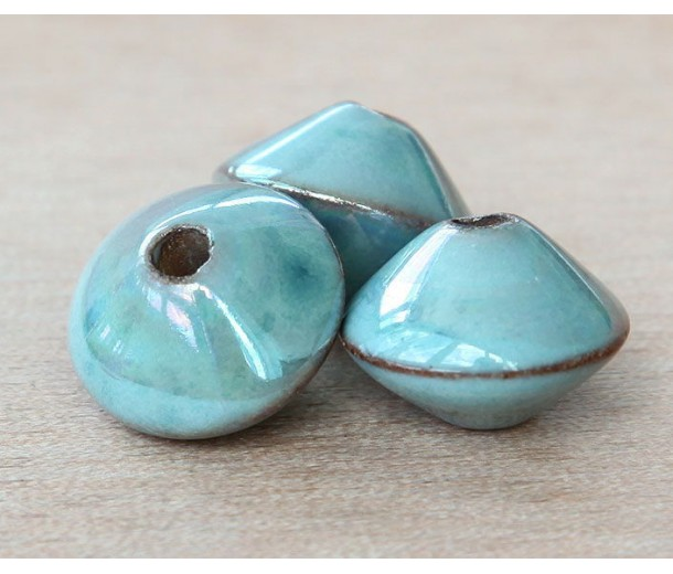 18x12mm Bicone Iridescent Ceramic Bead, Teal