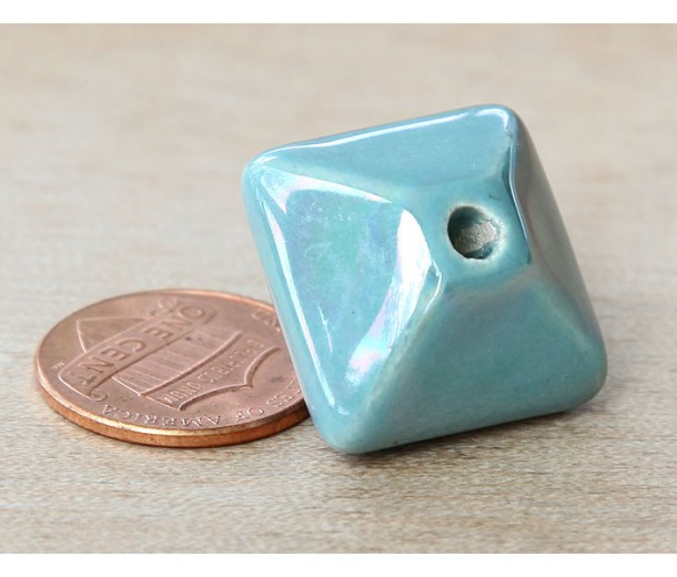 20mm Pillow Iridescent Ceramic Bead, Teal