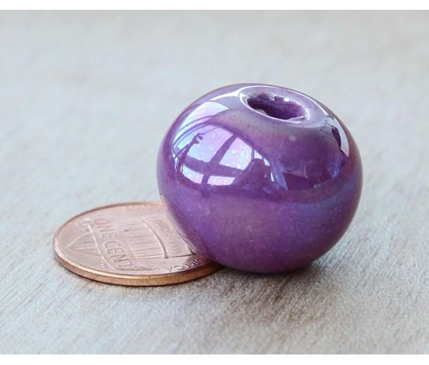20mm Round Iridescent Ceramic Bead, Purple