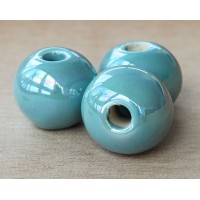 20mm Round Iridescent Ceramic Bead, Teal