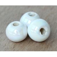 20mm Round Iridescent Ceramic Bead, White