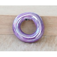 24mm Ring Iridescent Ceramic Focal Bead, Purple