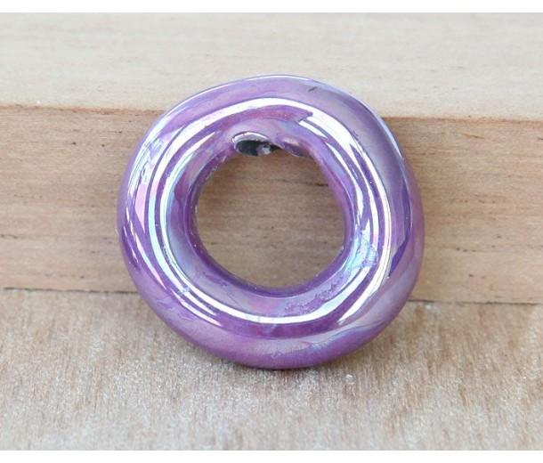 24mm Ring Iridescent Ceramic Focal Bead, Purple